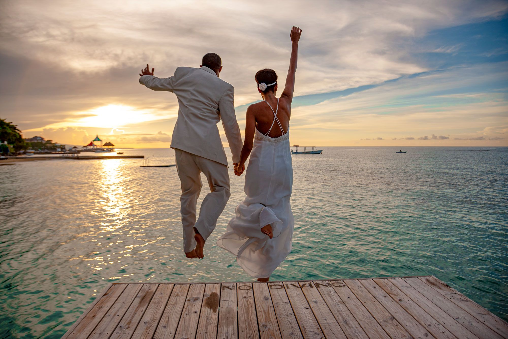 Wedding Couple Jumping Pier