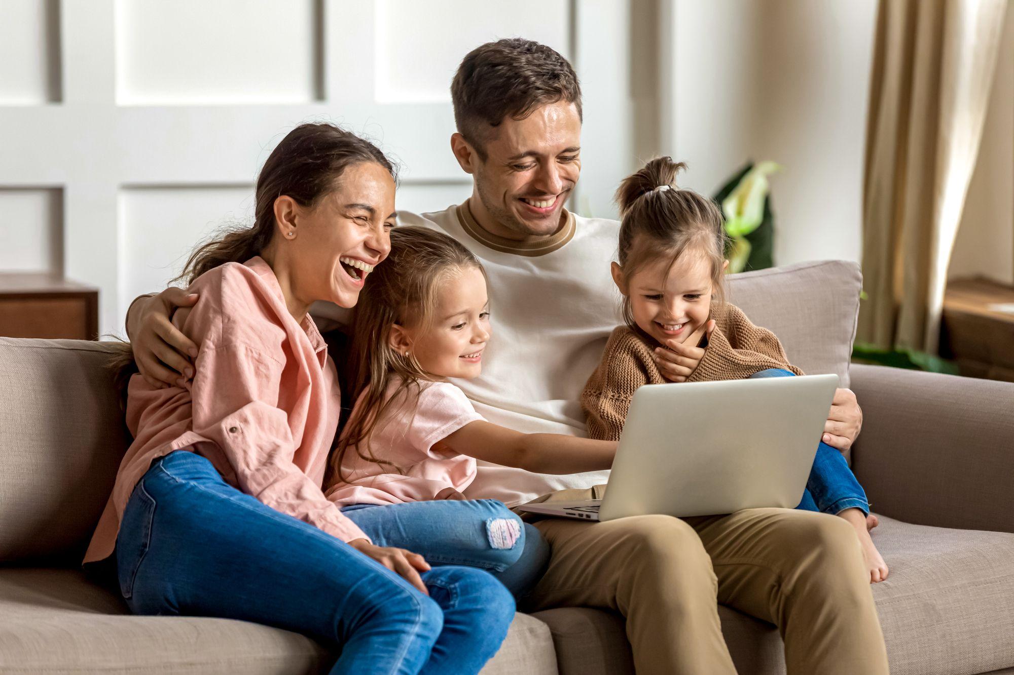 Educational Indoor Activities Family Watching Computer