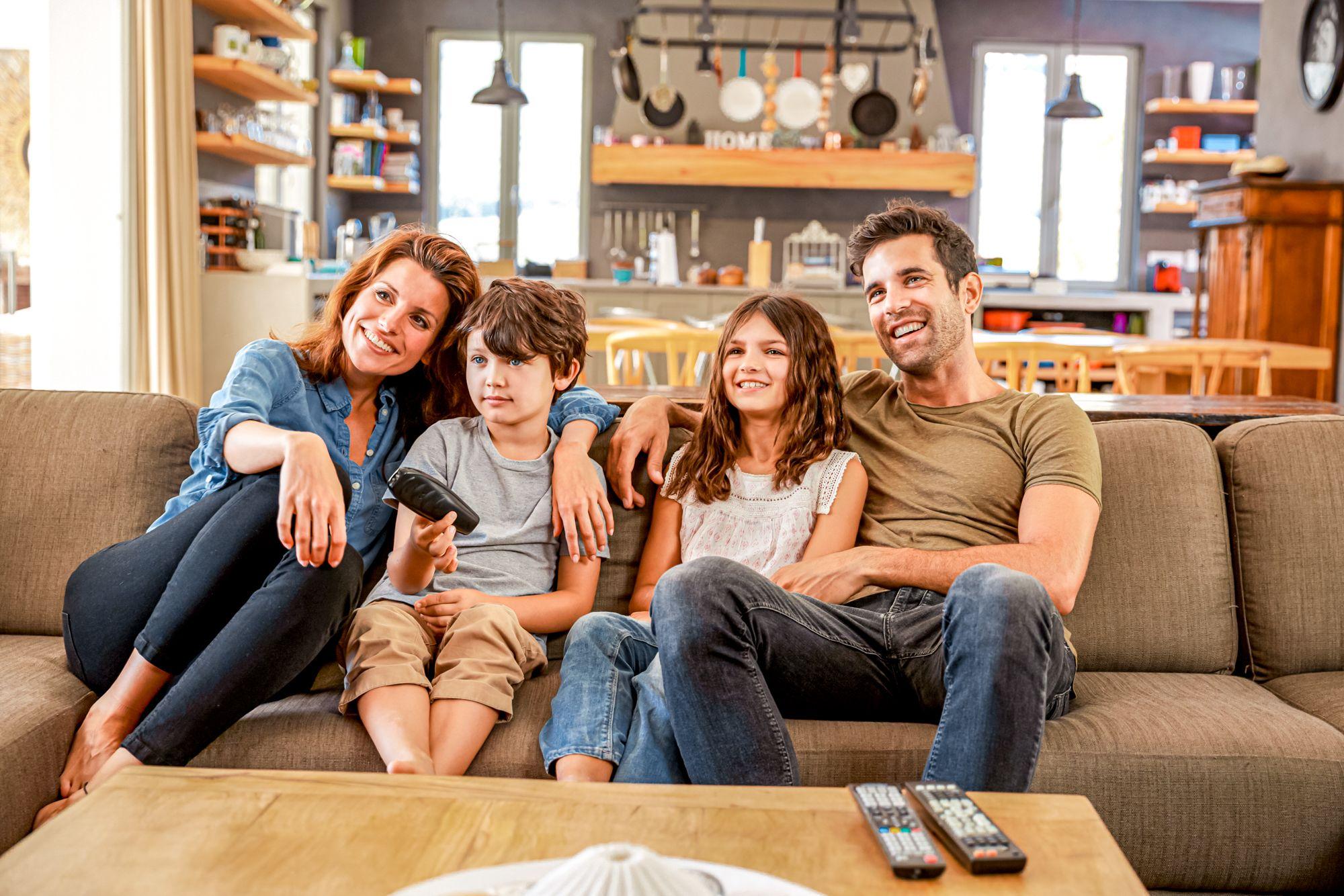 Educational Indoor Activities Family Watching TV
