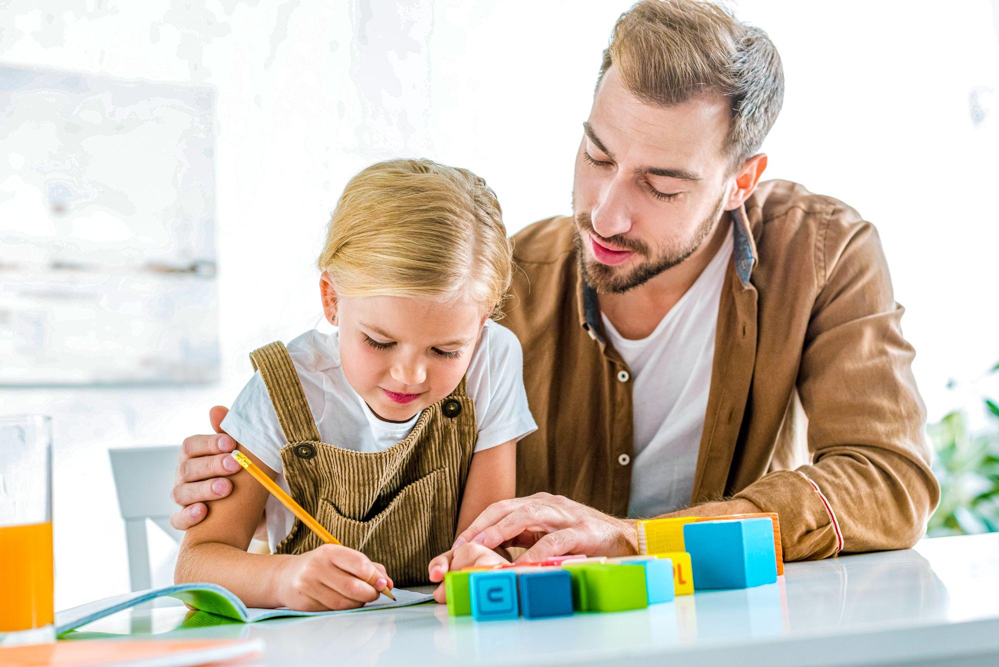 Educational Indoor Activities Kid Dad Doing Homework