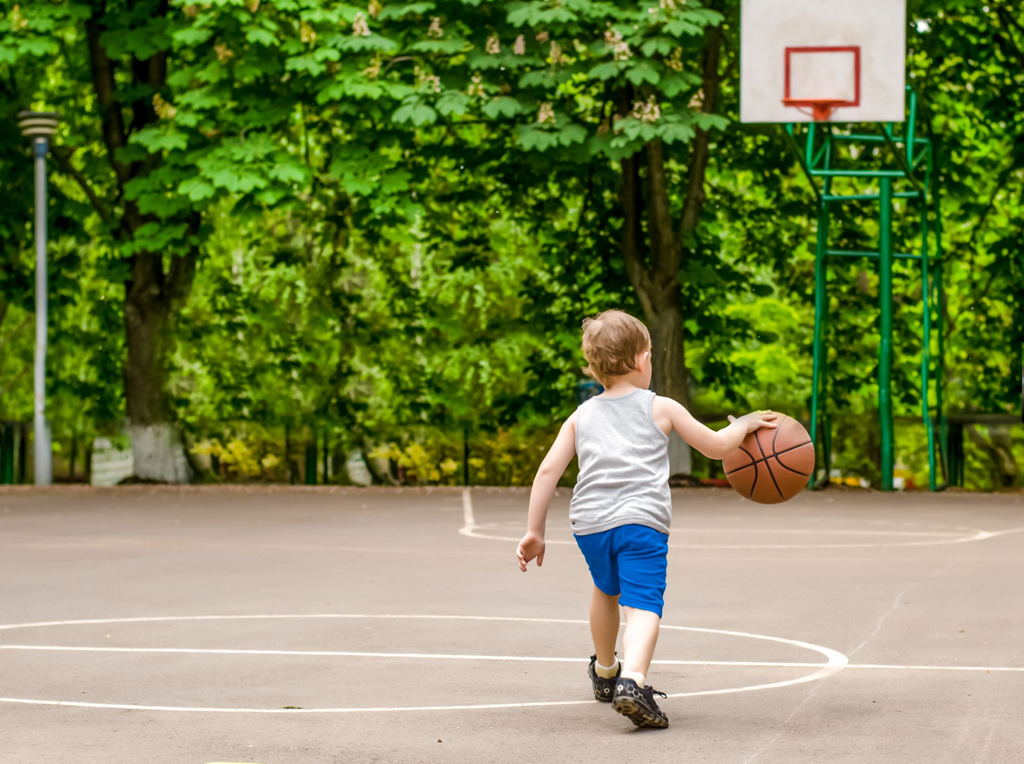 Kid Playing Basketball Screen Time