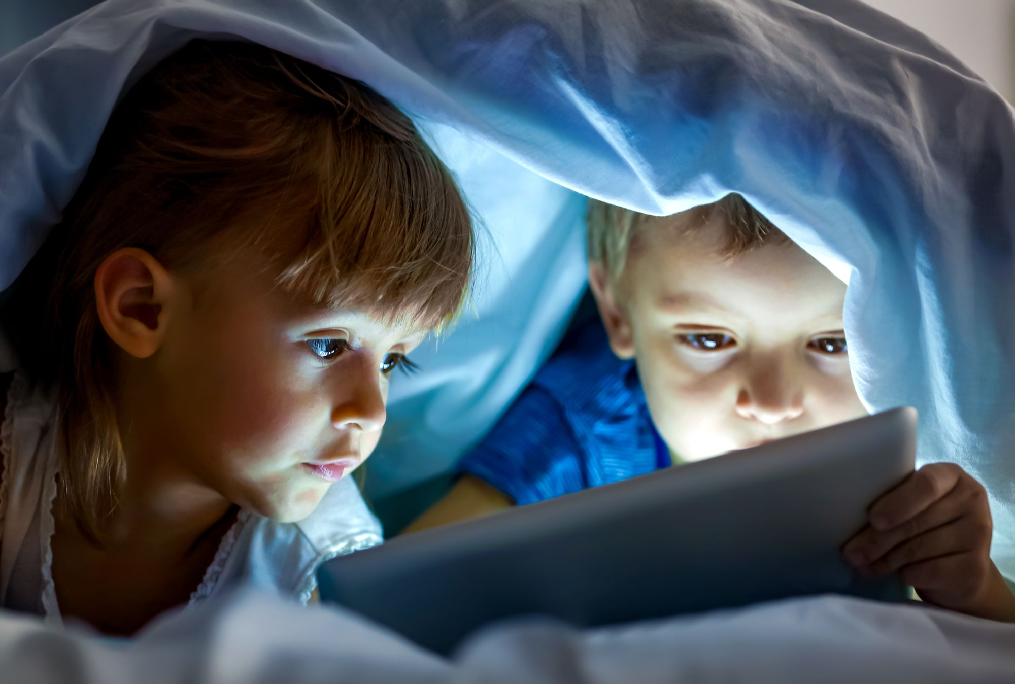 Kids under Blanket Sleep Screen Time